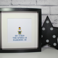 TOTTENHAM HOTSPUR - Framed custom Lego footballer minifigure - Football