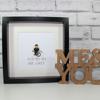 MR GREY - FIFTY SHADES OF GREY - VALENTINE FRAMED CUSTOM MINIFIGURE