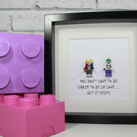 JOKER AND HARLEY QUINN - LOVE - VALENTINES DAY - FRAMED CUSTOM MINIFIGURES