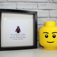 BATGIRL - Mothers Day Special - Framed minifigure - Quirky gift idea - mum - mum