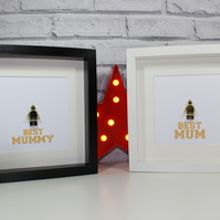BEST MUM - MUMMY - Framed golden statue - Lego minifigure award - Mothers Day