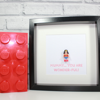 LEGO WONDER WOMAN - Framed minifigure - Mothers Day - Mum - Mummy - Wonder-ful