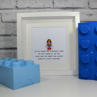 MOTHERS DAY SPECIAL - Framed Lego Wonder Woman minifigure - Mum - Mummy - Awesom