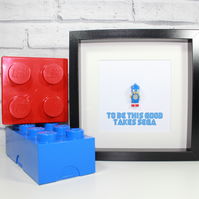 SONIC THE HEDGEHOG - Framed Lego minifigure - Awesome artwork