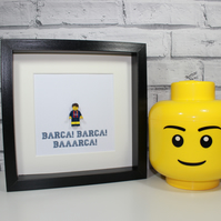 BARCELONA FC - Framed custom minifigure - Lego footballer - Superb art work