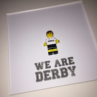 DERBY COUNTY - FOOTBALL - DCFC - FRAMED CUSTOM LEGO MINIFIGURE