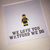 WATFORD FC - Framed custom Lego minifigure - football - footballer