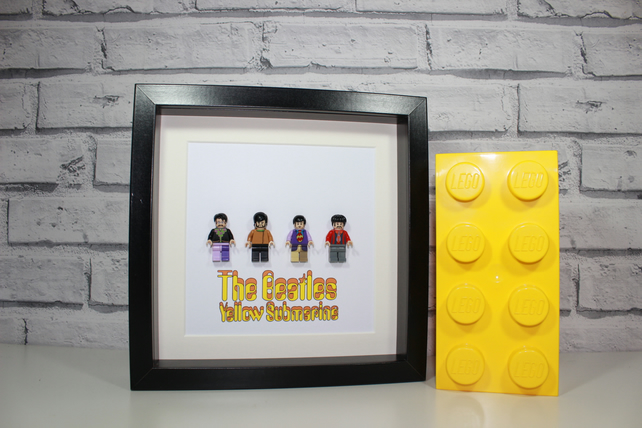 THE BEATLES - Framed custom minifigures - Yellow Submarine - awesome art