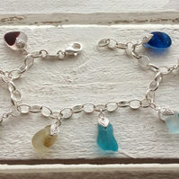Rainbow Sea Glass Sterling Silver Charm Bracelet