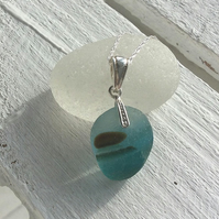 Turquoise & Amber Sea Glass Sterling Silver Necklace