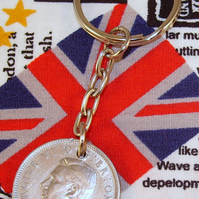 1948 Old English Shilling Coin Keyring Key Chain Fob King George VI 69th Birth