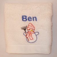 Personalised Christmas Snowman Hand Towel Any Name 100% Cotton