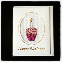 Cupcake with Candle Happy Birthday Card