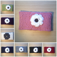Hand knitted Flower Button Neck Scarf or Headband