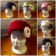 Hand knitted Beret with flower detail