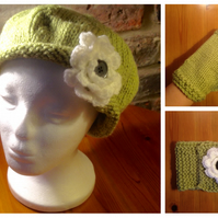 Hand knitted Hat, Scarf and Gloves with flower detail