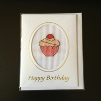 Birthday Cupcake Card in Cross Stitch