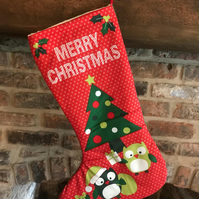 Red Owl Christmas stocking