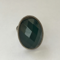 Turquoise and Silver Coloured Adjustable Ring