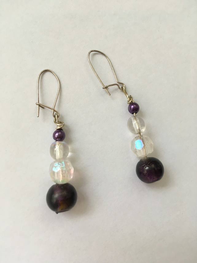 Purple and Iridescent Drop Earrings