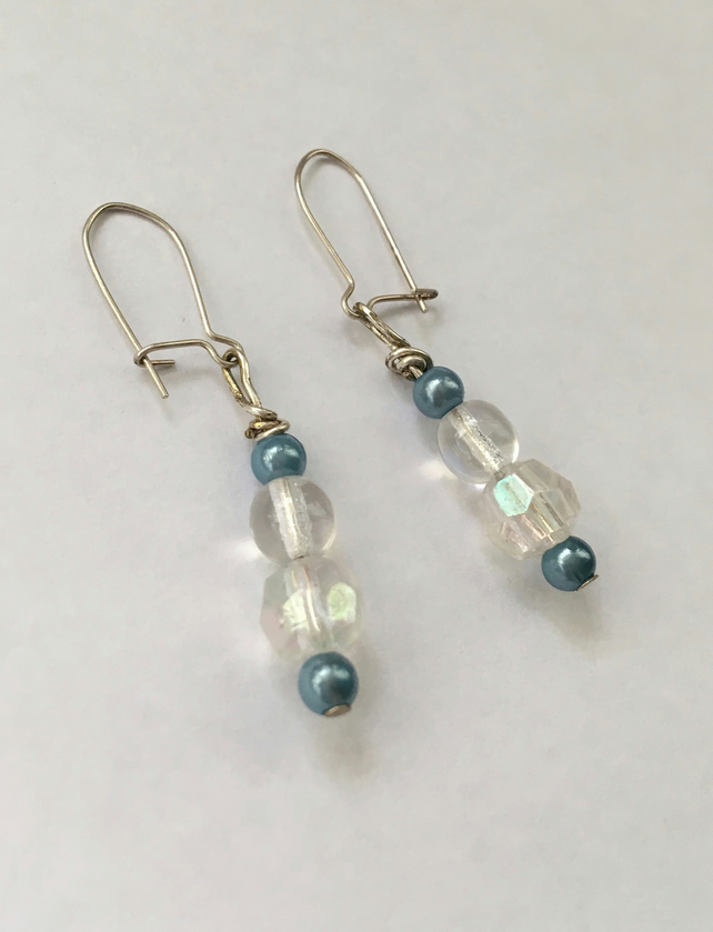 Turquoise & Iridescent Bead Drop Earrings