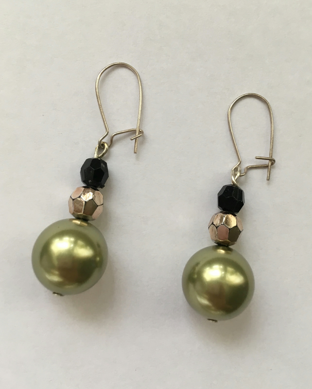 Light Green, Black & Gold Drop Earrings