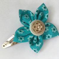 Turquoise Fabric Flower Hair Clip