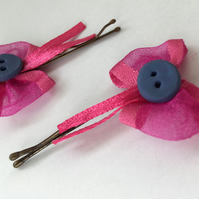 Pink Bow with Button Centre Hair Clips