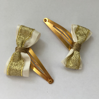Sparkle Gold & Ivory Hair Clips