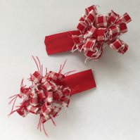 Red and White Flower Hair Clips