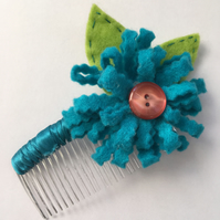 Turquoise Flower Hair Comb