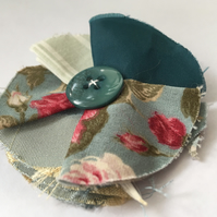 Duck Egg Blues and Green Fabric Hair Clip