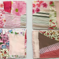 Shabby Chic Pink Fabric Coasters