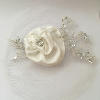 White Netted Bridal Fascinator with Satin Rose and Crystal Embellishments