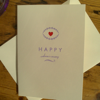 SALE Happy Anniversary letterpress card