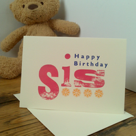 Happy Birthday Sis letterpress card