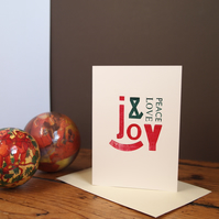 Peace, Love & Joy letterpress Christmas card