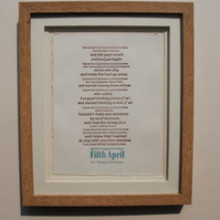 Wedding Vows Custom Order letterpress print Wedding Anniversary gift