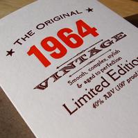 Fifties 1964 letterpress birthday card