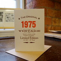 40s Forties 1975 letterpress birthday card