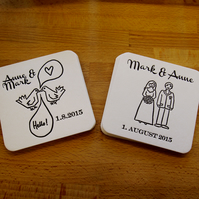Letterpress Save the Date beer mat coaster bespoke custom order
