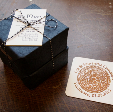 Letterpress beer mat coaster table decorations