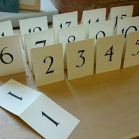 Letterpress printed A6 folded table numbers - wedding and events