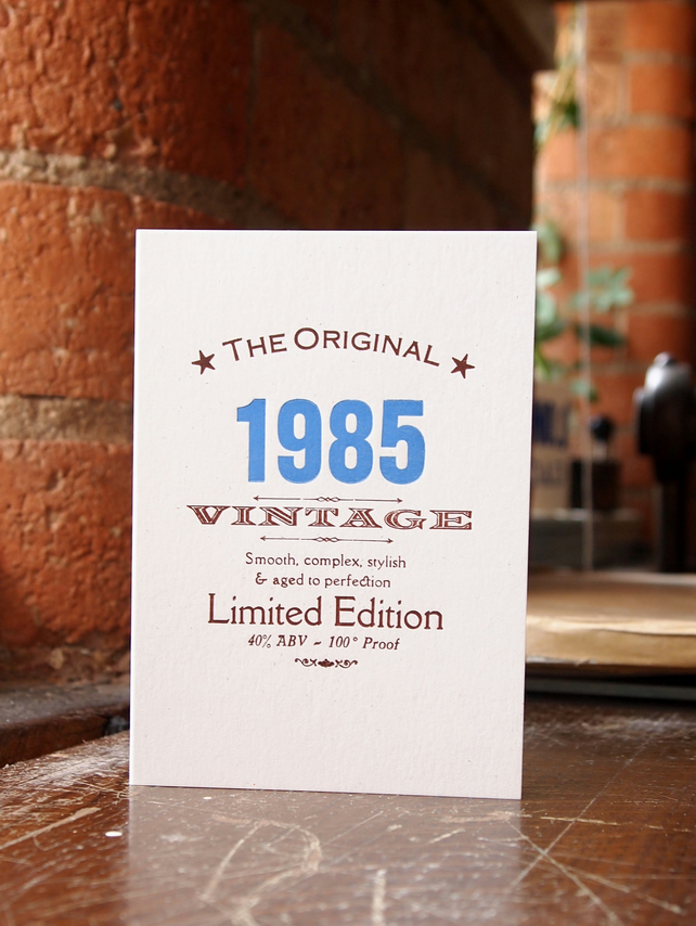 1985 Thirties letterpress birthday card invitations