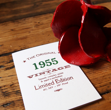 60th 1955 Sixieth letterpress birthday card invitations