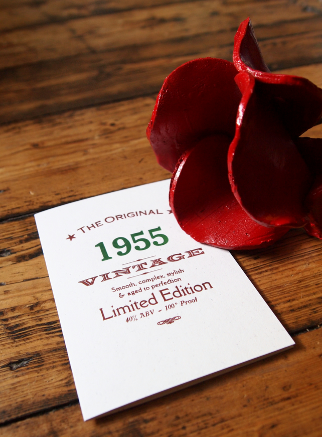 1955 Sixties letterpress birthday card invitations