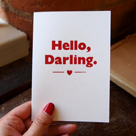 Hello Darling anniversary birthday letterpress card