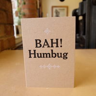 Bah Humbug letterpress Christmas greetings card