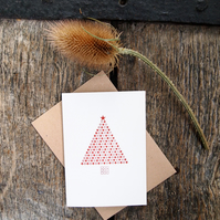 Red Starry Christmas Tree letterpress card