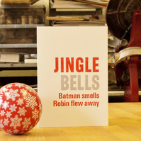 Jingle Bells Batman Smells letterpress Christmas card